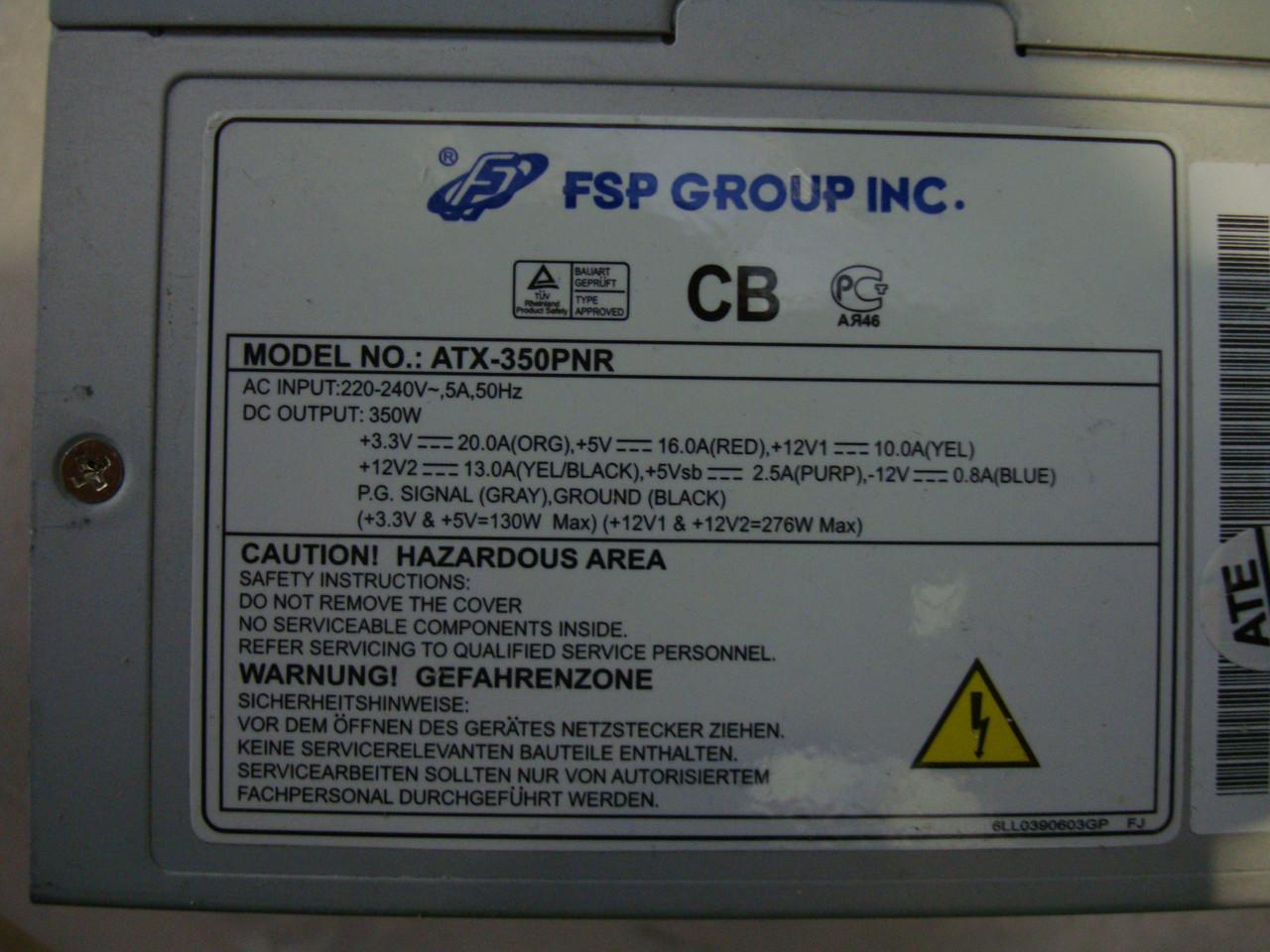 Блок питания FSP ATX-350PNR 350 W, фото 1