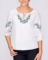 Заготовка вишиванки жіночої сорочки та блузи для вишивки бісером Бисерок  «Ніжні квіти сині» ( 3b795fff4443a