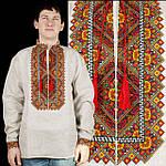 Праздничная мужская рубашка из домотканого полотна с вышивкой, фото 3
