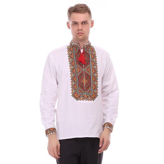 Праздничная мужская рубашка из домотканого полотна с вышивкой