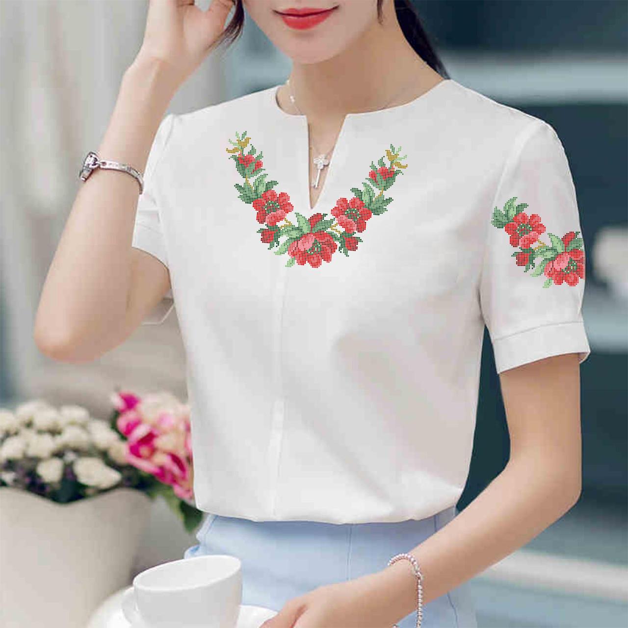 Заготовка вишиванки жіночої сорочки та блузи для вишивки бісером Бисерок «Ніжні квіти» (Б-29 )