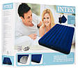 Надувной матрас Intex 68765 с двумя подушками и ручным насосом (203*152*22 см), синий, фото 4