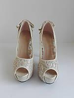 Женские летние кружевные туфли с открытым носком и высоким каблуком 36 размера