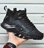 Мужские утепленные кроссовки Nike Huarache Acronym Concept Black (Топ реплика ААА+)