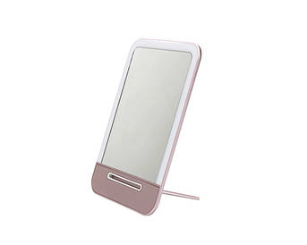 Зеркало с LED подсветкой. Заряжается от USB. Розовый