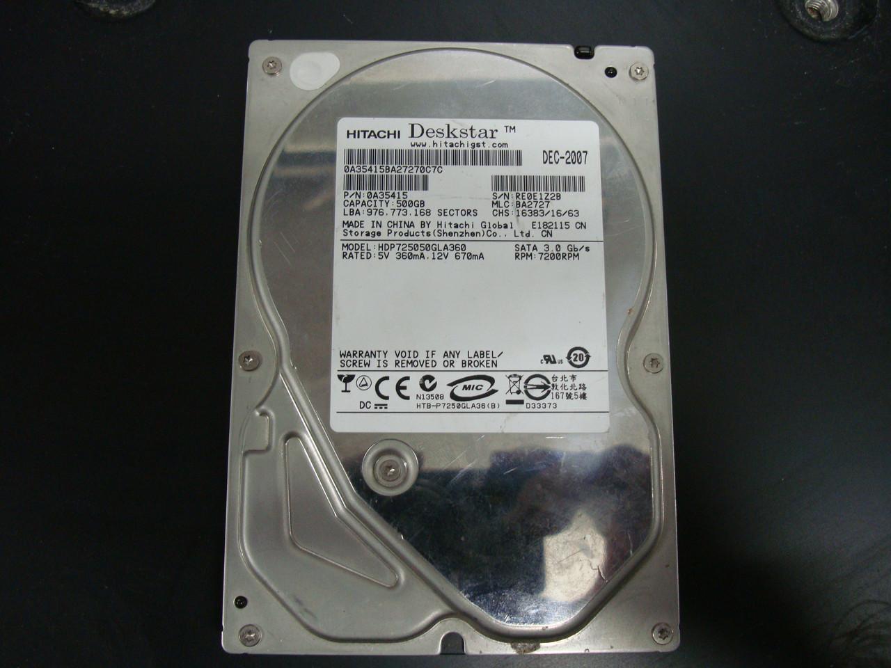Жесткий диск Hitachi HDP725050GLA360 500Gb 7200RPM SATAII для компьютера