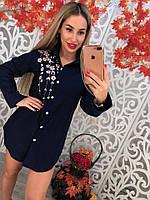 Удлиненная женская блузка с вышивкой