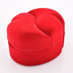 Футляр для колец-серег 741002 красный бархат, размер  7*5,5 см