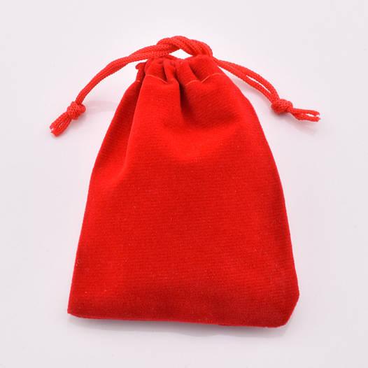 Подарочный мешочек велюровый красный 54449 размер 5х7 см