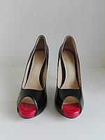 Женские лаковые туфли с открытым носком и высоким каблуком 40 размер