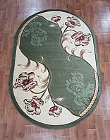 Рельефный полипропиленовый ковер Meral 8913 зеленый овальный