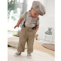 Детский костюм, штаны, брюки с подтяжками и футболка