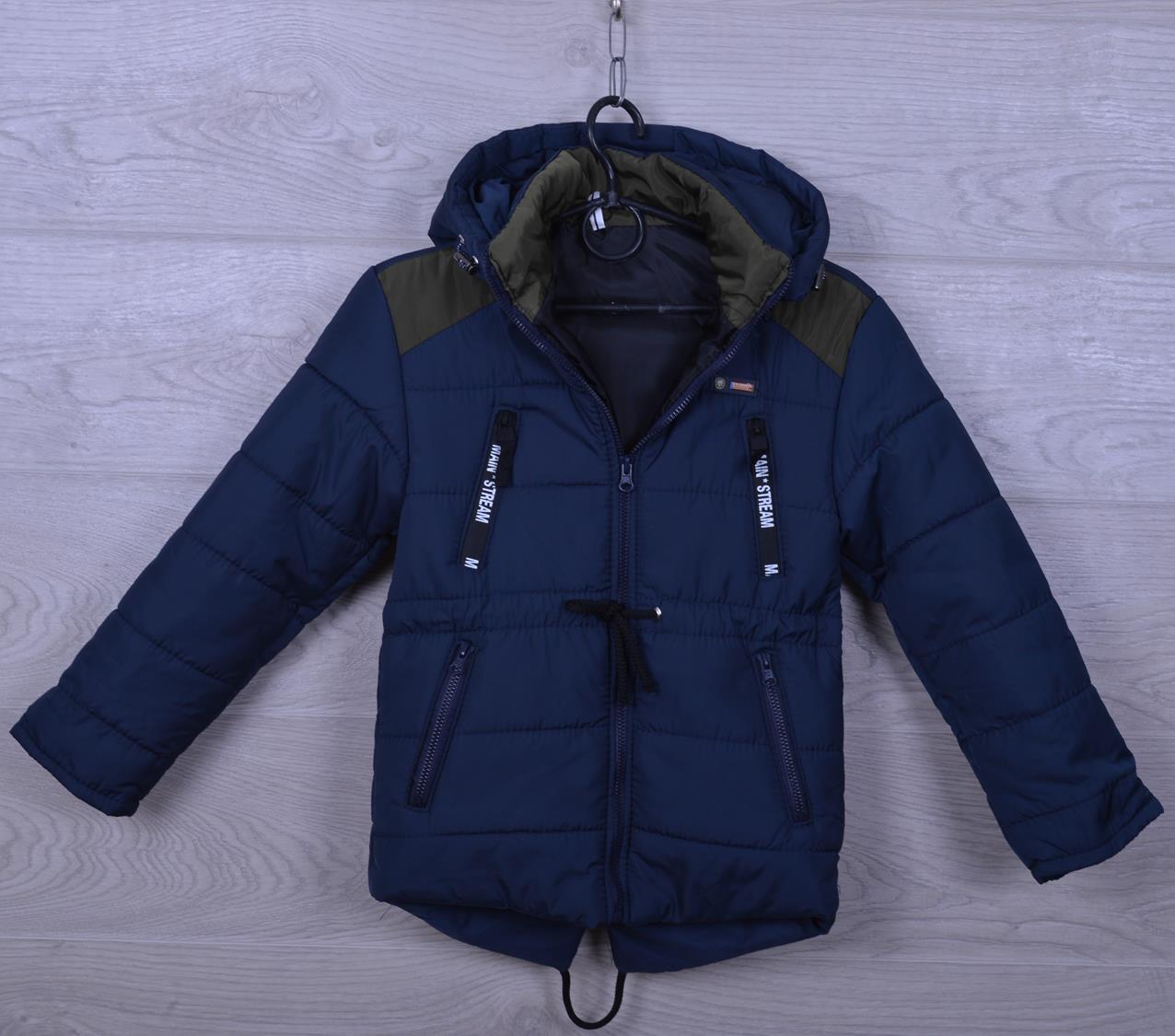 """Куртка детская демисезонная """"Погоны"""" для мальчиков. 2-6 лет. Темно-синяя+Хаки. Оптом."""