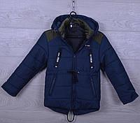 """Куртка детская демисезонная """"Погоны"""" для мальчиков. 2-6 лет. Темно-синяя+Хаки. Оптом., фото 1"""