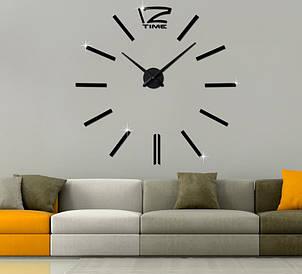 Декоративные часы наклейки на стену Woow black D=1м