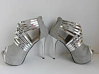 Женские туфли серые с хромом на высокой шпильке и открытым носком 37 размера