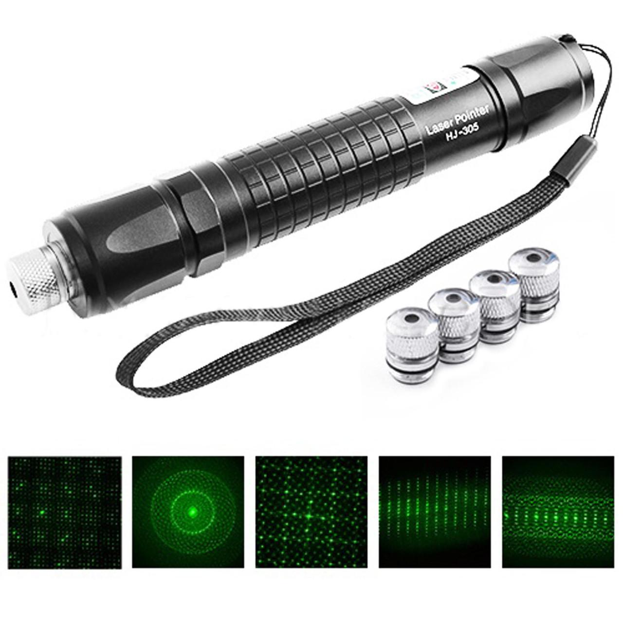 Лазерна указка HJ-305 — Зелений лазер з 5 насадками, в подарунковій коробці