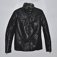 Кожаная теплая мужская зимняя куртка на меху - черная (44-46) SALE