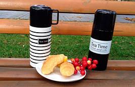 Термос TEA TIME 350 мл. Черный с белой полосой, фото 2