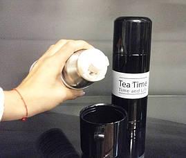 Термос TEA TIME 350 мл. Черный с белой полосой, фото 3