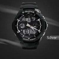 Водонепроницаемые спортивные наручные часы с LED подсветкой S-SHOCK Skmei Белый Черный