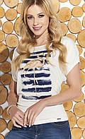 Летняя блузка с принтом фламинго. Модель Flavia Zaps, размеры 54,56, фото 1