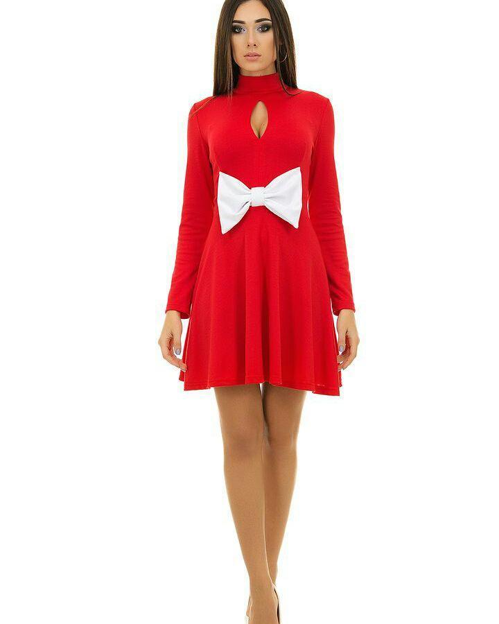67e967e58f9 Платье с юбкой клеш красного цвета с белым бантом - Интернет-магазин одежды  и обуви
