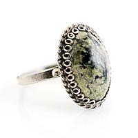 Змеевик (Серпентин), нейзильбер филигрань, кольцо, 1055КЦЗ