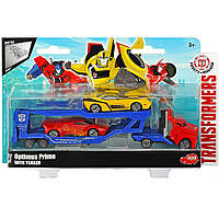 Машинка Автотранспортер металлический  Оптимус Прайм с машинками Dickie Toys (311 3012)