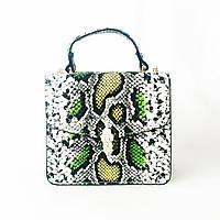 Клатч, чемоданчик кожаный, сумка крос-боди в стиле bulgari, bvlgari из змеиной кожи