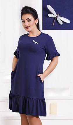 Д1272/2 Оригинальное платье с брошью размеры 46-56, фото 2