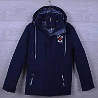 """Куртка подростковая демисезонная """"1896"""" для мальчиков. 10-15 лет. Синий+джинс. Оптом., фото 1"""