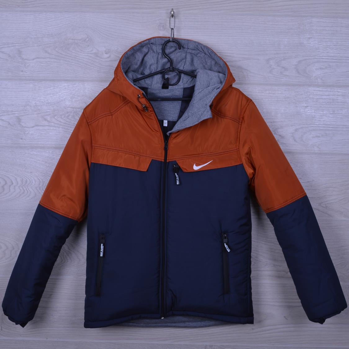 """Куртка подростковая демисезонная """"Nike реплика"""" для мальчиков. 10-15 лет. Синий+оранжевый. Оптом."""