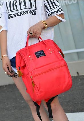 Женский рюкзак-сумка красный стильный из ткани купить по выгодной ... 4ccdecced13