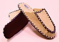 Тапочки из натуральной шерсти войлочные мужские с фиолетовым шнурком, фото 1