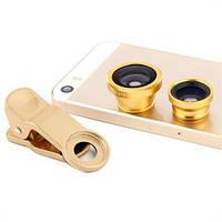 Универсальный набор объективов линз для телефона 3 в 1 Fisheye Macro Wide Фишай золотой