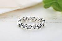 Серебряное кольцо 100% PANDORA-пандора (сияющие сердца)КАЧЕСТВО!