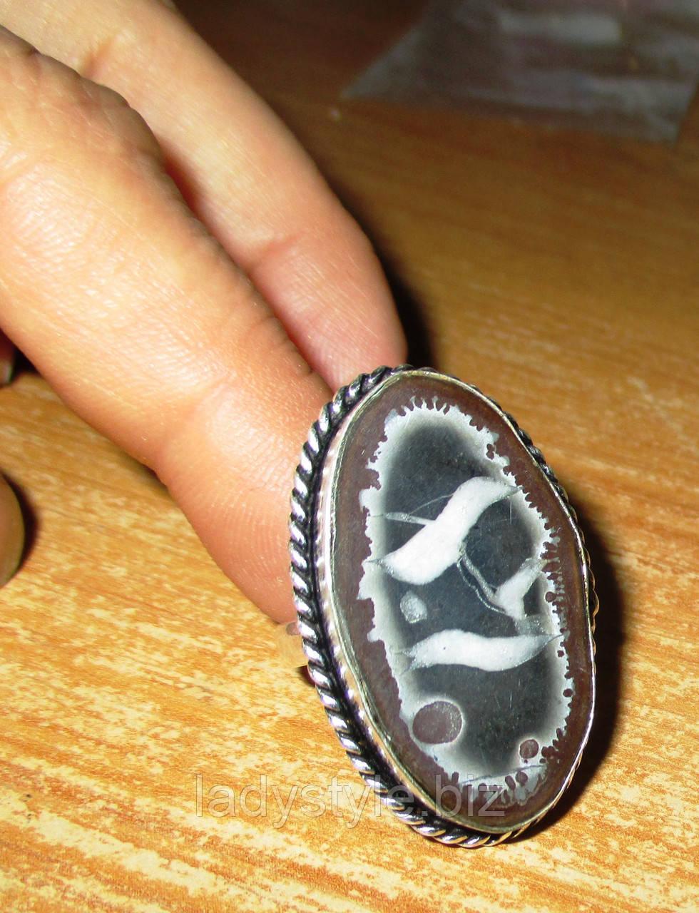 """Крупный перстень с септарией  """"Зодиак"""", размер 17,8"""