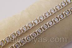 Нарядная серебряная цепочка с фианитами