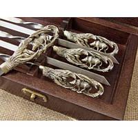 Шампуры  - Кабан - из нержавеющей стали 3 мм с бронзовыми ручками в  натуральном кейсе