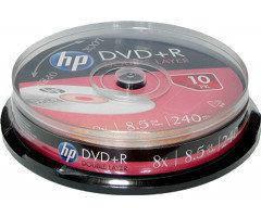 Диски HP DVD+R 8,5 GB 8x Double layer Full surface inkjet printable Cake box/10