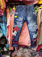 Лосины для девочки 6-9 лет синего цвета под джинс с микки оптом
