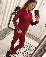 Спортивный костюм красный с нашивками Шанель реплика, фото 1