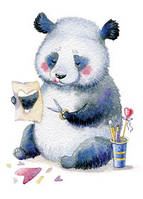 """Открытка """"Панда с сердечками"""""""