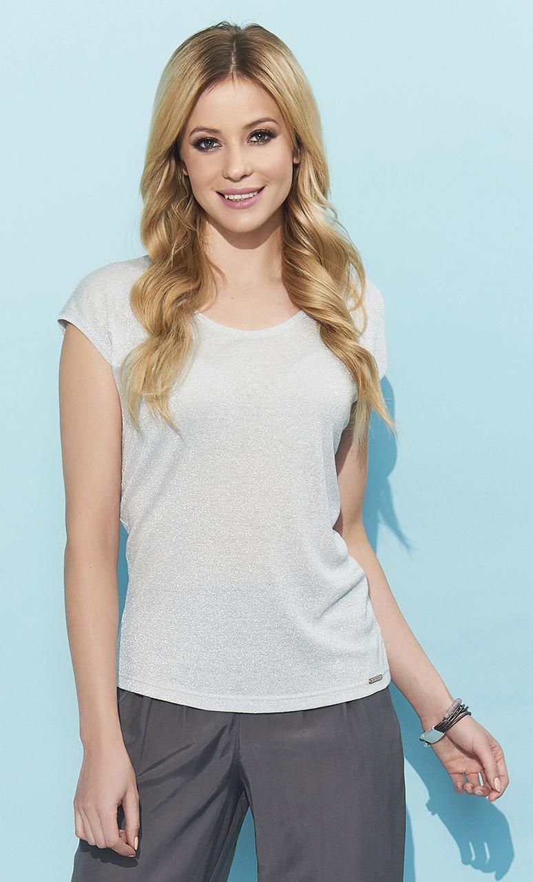 Легкая летняя блуза серого цвета. Модель Lexy Zaps, коллекция весна-лето