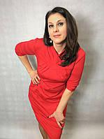 Красное платье с карманами П91