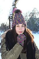 Зимняя вязаная Шапка с меховым помпоном из енота