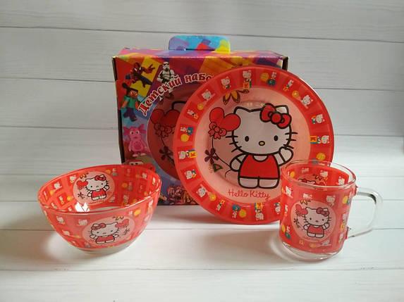 Посуда для девочек с кошкой Китти, детская посуда оптом, фото 2
