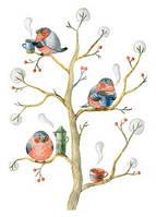 """Почтовая открытка """"Снегири и чай"""", фото 1"""