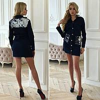 Женский джинсовый кардиган на пуговицах с пайетками на карманах и спинке, фото 1